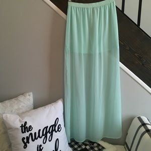 Mesh maxi skirt with slits